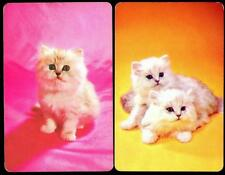 WHITE CAT/KITTENS SWAP/PLAYING CARDS X2 IN EXCELLENT CONDITION PINK AND YELLOW
