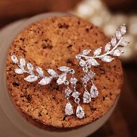 1 Paar Ohrringe Damenmode Kristall Strass Blätter Quaste Geschenke xk