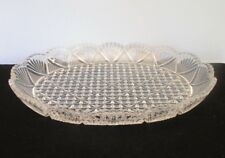 Cut Glass Shallow Bowl with Geometric and Fan Designs