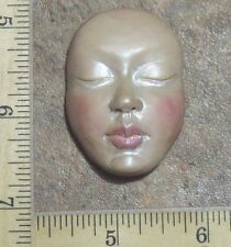 MOLD faceart  lovely polymer clay sculpt cloth doll face original by Lori Barbee