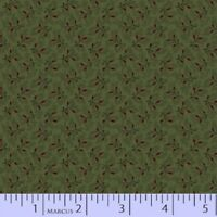 BY 1/2 YD~TALL GRASS~red SPRIGs on green by Pam Buda~MARCUS~8170-0116