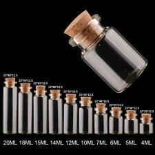 10x Mini Empty Clear Glass Bottle With Cork Small Tiny Vials Jars Transparent