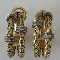 Designer 14k two tone double braid hoop earrings omega back post diamond 13.7 gm