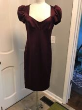 Betsey Johnson Evening Vintage Dress 6 Plum Purple puffed sleeves NWT retail 329