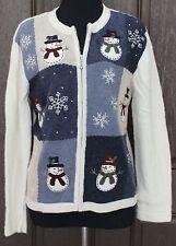 Croft & Barrow Womens Multi-Color Cardigan Sweater SZ S Snowman Zip Up Ugly Xmas