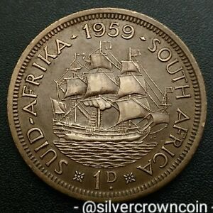 South Africa 1 Penny 1959. KM#46. Large One Cent coin. Sailing Ship. Dromedaris.