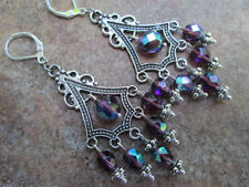 Purple Aurora Borealis Chandelier Earrings Sterling Silver wires Prom Earrings