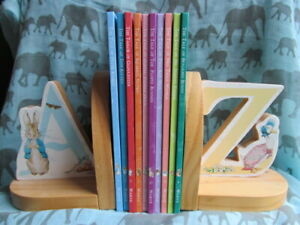 Peter Rabbit Wood Book Ends + Beatrix Potter Book Set - Used -Jemima Tom Kitten