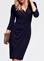 Hotsquash Ascot Mock Vneck Wrap Dress NAVY Women Ladies 3/4 Sleeve UK Size 18 *1