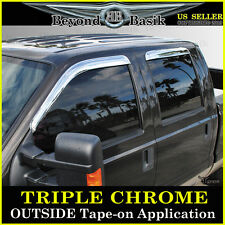 1999-2016 FORD F250 F350 F450 Crew Cab Chrome Vent Window Door Visor Rain Guards