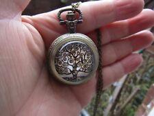 tree of life Klimt necklace pendant pocket watch chain vintage fashion bronze