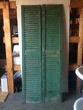 Tall Antique Pair House Painted Louvered Shutters Shabby Door Chic 87x17 2164-16