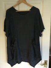 Womens Top - Navy blue - Onesize - Linen - measures 23 inches