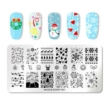 NICOLE DIARY Rectangle Nail Art Stamping Plates Christmas Stamp Plate Manicure