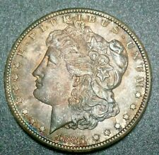 1884 CC U.S. Liberty Morgan Silver Dollar Mint State Rare Star Chrome Toned Coin