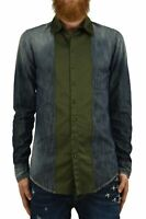 Dsquared2 Camicia Jeans Uomo Blu Bottoni Logo Denim - Mod. S74DL0570S30114470