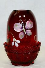Fenton, Fairy Light, Ruby Glass, Hand Decorated.