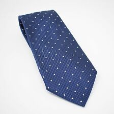 "TOM FORD Stunning Deep Blue Silver Polka Dot Woven Silk Tie 3 5/8"" THICK SILK"