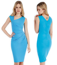 Goddess Turquoise Pleated Side Asymmetric Fitted Cocktail Evening Party Dress 10