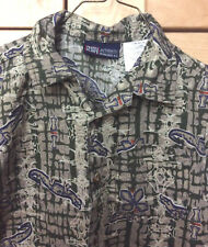 Faded Glory Toddler Boy 100% Cotton Olive Green Lizard Hawaiian Surf Shirt 18M