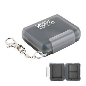 KORA Mini Memory Card Case Hard Holder Cover With Key Chain For 1 CF +2 SD Cards
