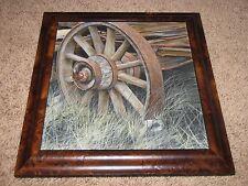 "GUS HEINZE Original Oil Painting Board 9""x10"" Wagon Wheel Photorealist Painter"