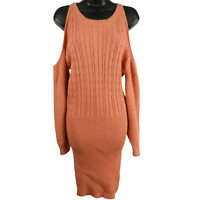 NWT L'atiste by Amy Coral Open Shoulder Long Sleeve Sweater Dress Size Medium