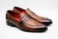 Hommes Fait main Cuir brun imprimé crocodile Formel Des chaussures