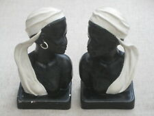 Pair of heavy plaster vintage Duron book ends