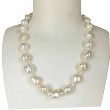 Elegant 12mm Huge Freshwater Baroque Natural White Pearl necklace 45cm PNK8001