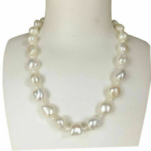 Huge Freshwater Baroque 10~12X12~15mm Pearl Necklace Natural White 45cm