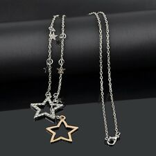 Woman Silver Gold Crystal Rhinestone Stars Pendant Charms Long Chain Necklace