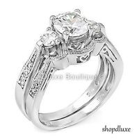 WOMEN'S 2.50 CT ROUND BRILLIANT CUT CZ .925 STERLING SILVER WEDDING RING SET