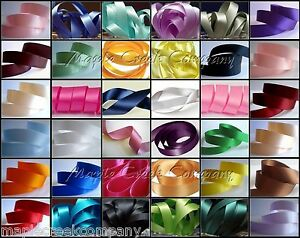 """Double Face Satin Ribbon 3/8"""" Silky Sheen on Both Sides 34 COLORS AVAILABLE"""