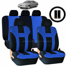 NEW RED /& BLACK POLYESTER SEAT COVERS /& STEERING COMBO 12PC SET FOR CARS 2321