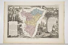 Carte XIX° Illustrée Département BAS RHIN Levasseur Géographe