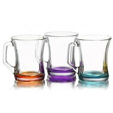 New Coloured Set Of 6 Glasses Tea Coffee Cappuccino Cups Hot Drink Mugs - Gift