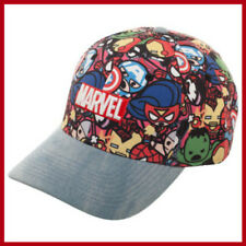 Womens Marvel Kawaii Avengers Denim Baseball Cap with Curved Bill