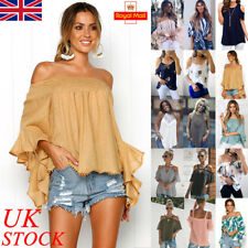 UK Womens Summer Casual Off Shoulder Blouse Ladies Loose T Shirt Tops Plus Size