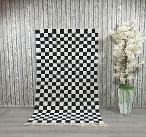 Custom Black Checkerboard Moroccan Rug Checkered Berber Beni Ourain Wool Carpet