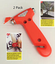 US 2 Pack Car Window Breaker Seat Belt Safety Emergency Hammer Cutter Tool