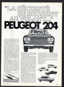 1969 PEUGEOT 204 Vintage Original Print AD - Black car photo French Canada
