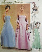 NEW McCalls 3090 Princess Seams Halter Strap Dress & Shawl Formal Pattern 12-18
