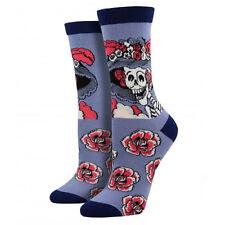 Socksmith Women's Bamboo Socks Catrina Dia De Los Muertos Skull Roses Crew Sock