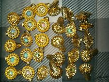 30 Vintage Christmas Tree Candle Holders Gold Color Metal Pine Cone Pattern