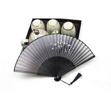 Chinese Japanese Folding Hand Held Fan Black Fan Silk Plum Flower Bamboo Pocket