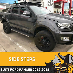 Ford Ranger Wildtrak Black Running Boards Side Steps 2012-2021 Dual Cab
