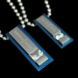 Partner Necklace Love Forever Stainless Rhinestone Pendant Moveable Chains Blue