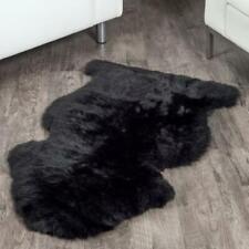 Genuine Real Sheepskin Rug Black Sheepskin Rug Single Pelt Wool Fur Throw Floor.