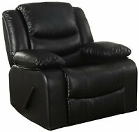 Bonded Leather Rocker Recliner Living Room Chair (Black)